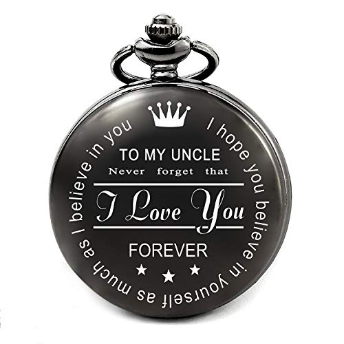 LEVONTA Uncle Gifts from Niece Nephew for Birthday Christmas, Personalized Pocket Watch for Uncles (Gift for Uncle)