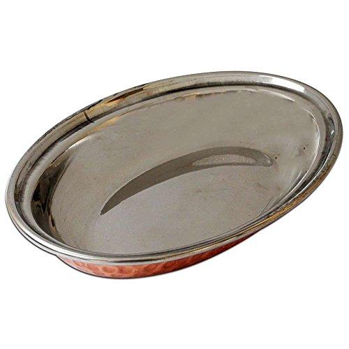 indianst ore24 Ovale Copper Bottom Rice Plate, Copper Bottom Riz Assiettes