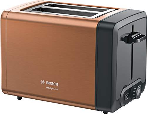 Bosch TAT4P429DE DesignLine - Tostadora compacta, función de descongelación y calentamiento, accesorio para panecillos retráctil, apagado automático, 970 W, color cobre