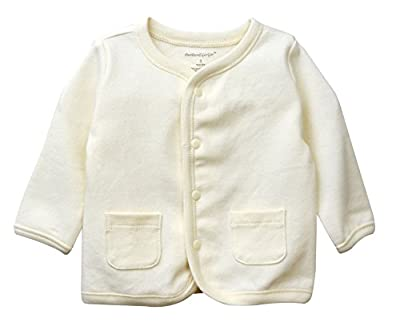 Dordor & Gorgor Organic Baby Cardigan Top, Dye Free, 100% Cotton, 0-3 Months, Beige