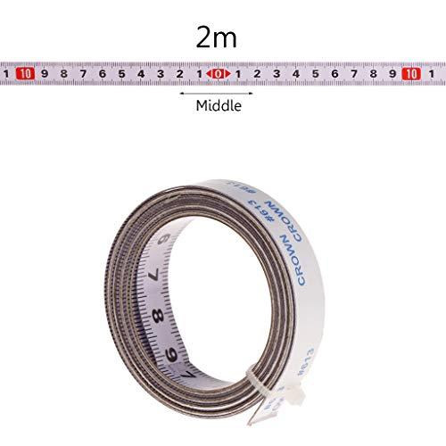 Mmnas,Selbstklebendes Maßband 1M /2M/ 3M /5M,13mm Breit,Rechts nach links, links nach rechts, mitte zu beiden seiten (mitte zu beiden seiten,2M)