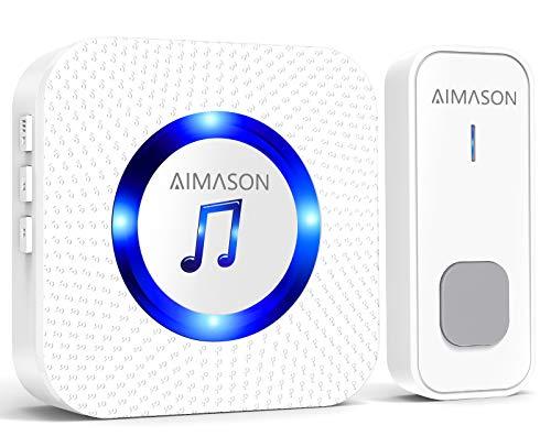 Wireless Doorbell, AIMASON 1300ft Remote Door Bells, Waterproof IP55 Door...