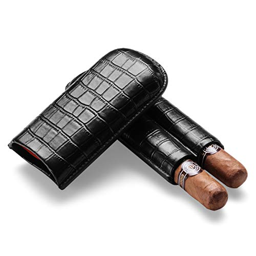 CIGARLOONG Zigarrenetui Leder Schwarz Tragbare Zigarrenröhre 2 Travel Holder