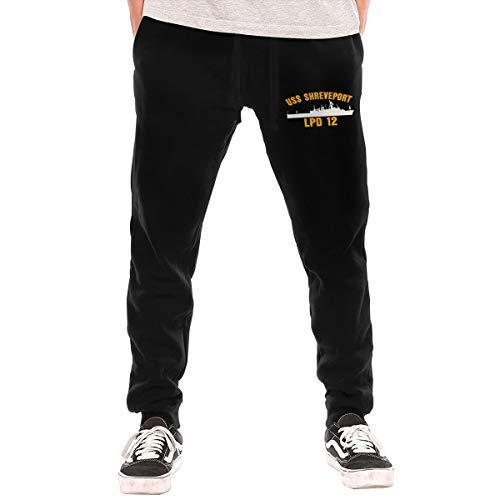 USS Shreveport LPD-12 Men's Long Pants Jogger Sweatpants Workout Pants Sports Pants with Pockets Black