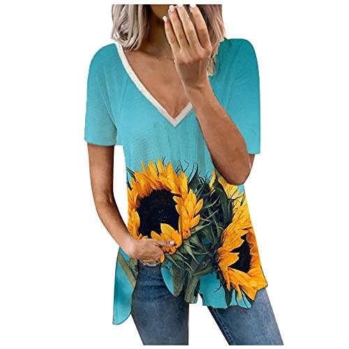 QWERT Femmes T-Shirt Dentelle Couleur Unie Vintage Tops Tuniques Manches Courtes Col en V Boutonnée Sexy Blouses Amincissante Slim ete
