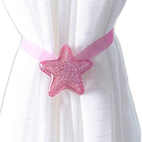 Molinter Vorhang Raffhalter Magnetisch Vorhangseil Clip Halter Sterne Holdbacks Gardinenklammern mit Starken Magnet für Heimtextilien 2 Stück (Rosa, L/32cm)