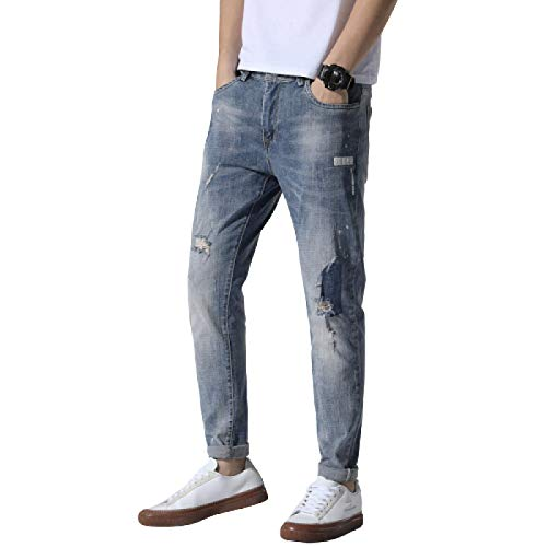 Jeans para Hombre Primavera y Verano Tendencia Stretch Slim Personalidad Ripped Jeans Daily Casual All-Match Jeans 30