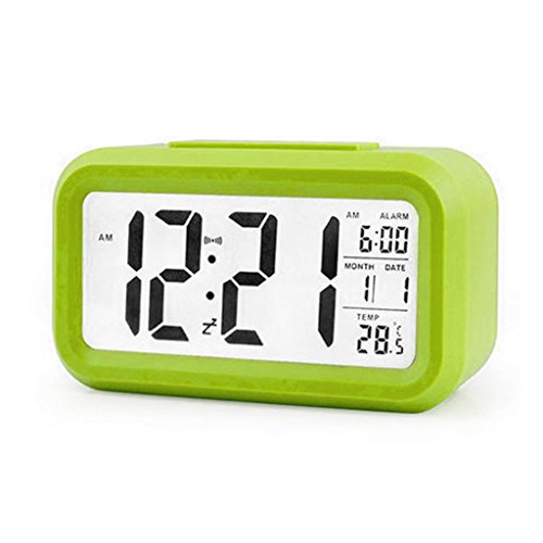 Kuvuiuee Digitaler Wecker Hintergrundbeleuchtung LED-Anzeigetabelle Uhrzeit Temperatur Kalender (3)