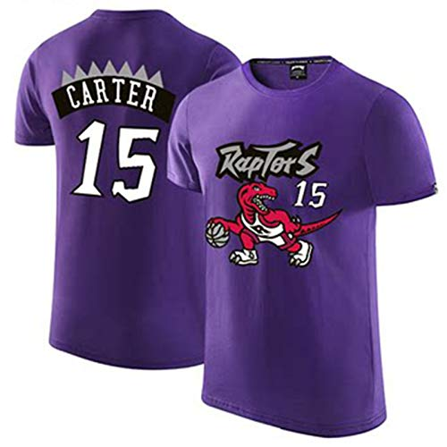 YDYL-LI Baloncesto Jersey Uniforme Moda Personalización Camiseta Sudadera Toronto Raptors # 15 Vince Carter Fans Top De Manga Corta para Los Adolescentes para Hombre, Transpirable,Púrpura,XXL