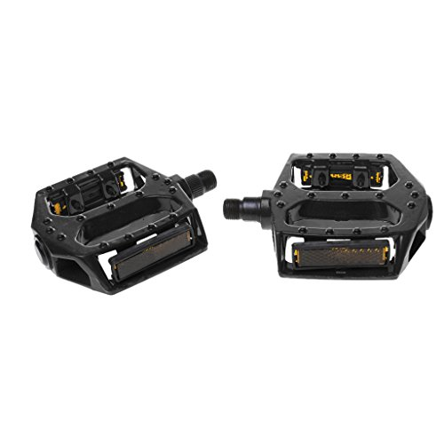 Generic Pair Lightweight Universal Aluminum Alloy MTB Road Bike Cycling Platform Wide Pedals - black