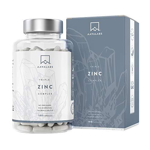 AAVALABS - Triple Zinc Premium - 25mg - Altamente concentrado - 3x Formas de Zinc -Picolinato, Bisglicinato y Monometionina - 180 Cápsulas - Testado en laboratorio y apto para veganos.