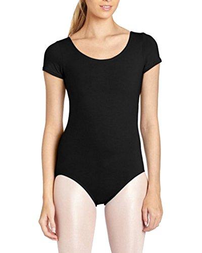 Gladiolus Damen Ballett Trikot Ballettanzug Kurzarm Tanz Body Gymnastikanzug Turnanzug Leotard Schwarz M
