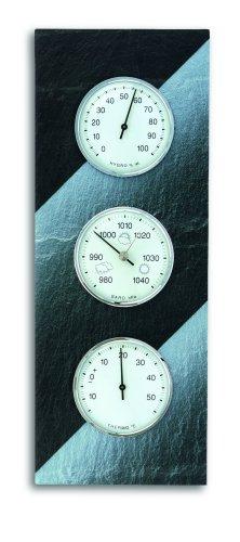 TFA Dostmann Analoge Wetterstation, aus Schiefer, Barometer, Therometer, Hygrometer