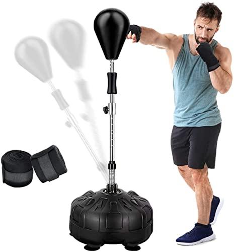 GIKPAL Punchingball, Boxsack Stehend Höhenverstellbar mit Ständer für Erwachsene & Kinder, Standboxsack Boxtraining Geräte für Hause Fitnessstudio Workout
