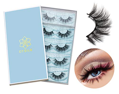 DYSILK 5 Pairs 6D Faux Mink False Eyelashes Natural Look Eyelashes Pack Wispy Extension Makeup Fake Eyelashes Long Handmade Fluffy Soft Reusable Lashes Black