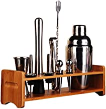 10 Piece Stainless Steel Bar Tool Set with Wooden Display Stand,Includes Cocktail Shaker Filter & Cap,Strainer,Ice Tongs,D...