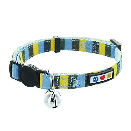 Pawtitas Collar de Gato Multicolor con Hebilla de Seguridad Collar de Gato con Campana Desmontable Collar de Gatito Azul/Amarillo/Verde Collar de Gato