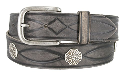 1-1/2' (38mm) Full Grain Leather Tooled Strap w/Antique Style Buckle and Celtic Conchos - Gray, 36