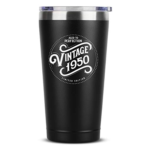 1950 70th Birthday Gifts for Women Men - 16 oz Black Insulated Stainless Steel Tumbler w/Lid - Vintage 70 Year Old Best Gift Present Ideas for Mom Dad - Tumblers Party Decorations Supplies Presents