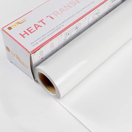 HTVRONT - Lámina textil para plóter (30,48 cm x 6,1 m, lámina de vinilo, para planchar sobre camiseta), diseño de camuflaje, color blanco