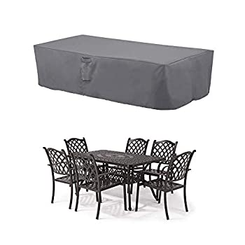 MH M&H Patio Furniture Covers Outdoor Furniture Covers Waterproof with Handles and Durable Hem Cord Fit Large Rectangular/Oval Table and Chairs 600D UV Resistant Fabric 108 x 82 x 23  Taupe