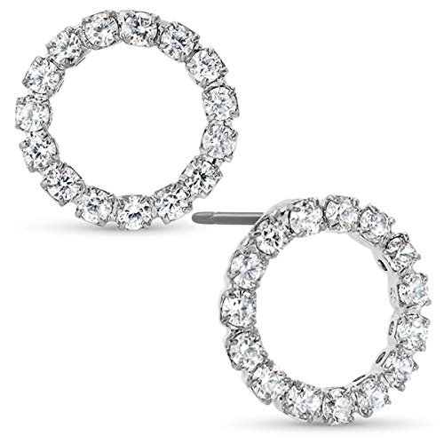 Humble Chic Circle Cubic Zirconia Stud Earrings - Tiny Round Simulated Diamond CZ Rhinestone Hoops Crystal Post Ear Studs, Silver Tone Circle, 0.5 inch, Hypoallergenic