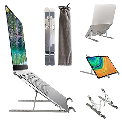Laptop Stand, Adjustable Computer Tablet Stand Ergonomic Laptop Holder, Aluminium Alloy Foldable Portable Notebook Holder Compatible with MacBook,iPad, HP, Dell, Lenovo, More10-15.6' Laptops & Tablets