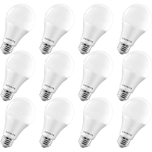 Luxrite A19 LED Light Bulbs 100 Watt Equivalent Dimmable, 3000K Warm White, 1600 Lumens, Enclosed Fixture Rated, Standard LED Bulbs 15W, Energy Star, E26 Medium Base - Indoor and Outdoor (12 Pack)