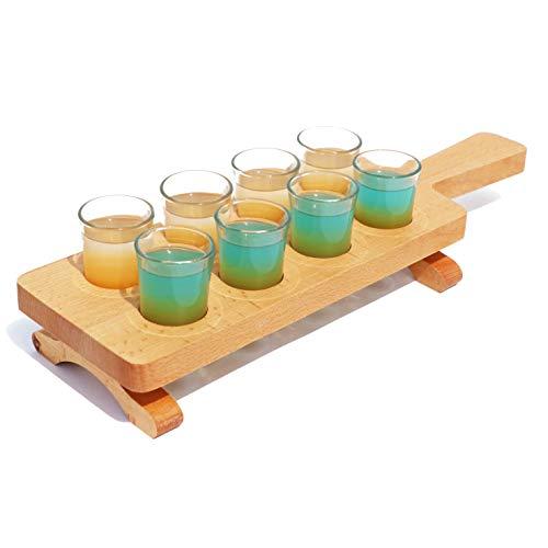 Porta Bicchierini da Tequila in di legno, Vassoio da Portata per Whisky, Vodka, Rum,Liquore,Gin,Tequila - di Legno, 8 Fori Dritti, Servizio da Cocktai