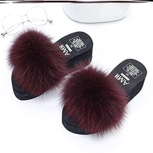 Kirin-1 Zapatillas De Casa para Mujer Verano,Ladies Slippers Sliders Womens Cute Faux Fur Doblos con Soporte De Arco-38_Vino Tinto
