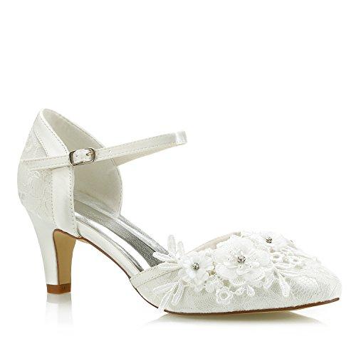 Mrs White 453-4A Damen Hochzeit Schuhe 6cm Kegel Ferse Spitze Satin Diamant Abschlussball Brautschuhe, 41 EU