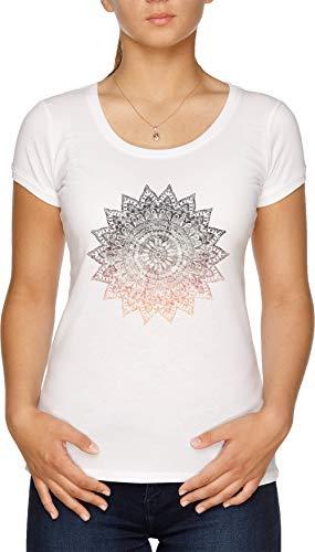 Bohemio Hygge Mandala Camiseta Mujer Blanco