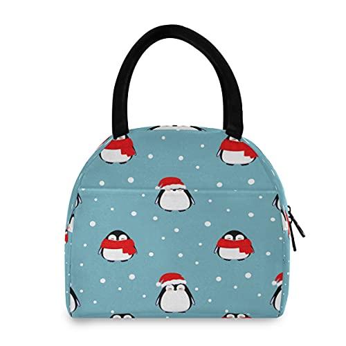 ECHOLI - Bolsa de almuerzo para Navidad, diseño de pingüino de invierno con aislamiento térmico, organizador térmico para hombres, mujeres, niños, trabajo, picnic, senderismo