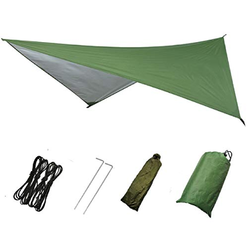 Azarxis Hammock Camping Tarp Rain Fly, Waterproof Tent Footprint Shelter Canopy Sunshade Cloth Picnic Mat for Outdoor Awning Hiking Beach Backpacking - Included Guy Lines & Stakes (Green)