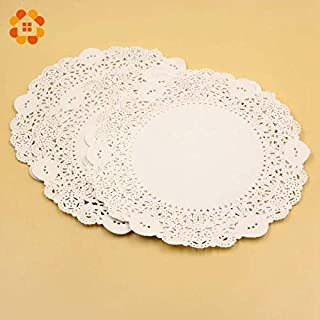 Sala-Tecco - 7.5'' Inch 50PCS/Lot Round Eco-Friendly Grease-Proof White Paper Doilies For Home Wedding Birthday Christmas Party Decoration