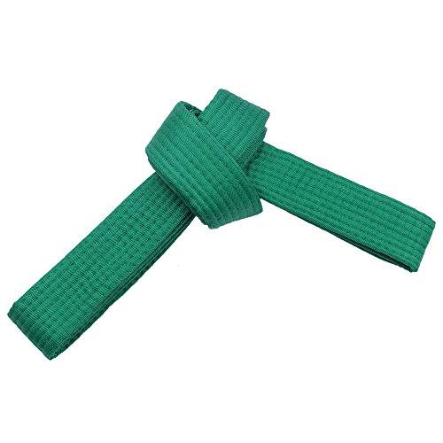 TOPTIE Karate Taekwondo Belt, Martial Arts Double Wrap Solid Rank Belt-Green-Size 0