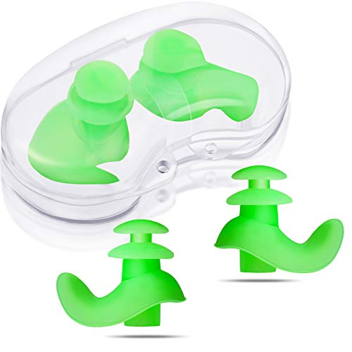 2 Pairs Silicone Swimming Earplugs Soft Swimming Ear Plugs Reusable Waterproof Silicone Earplugs for Kids and Adults Swimming Showering Bathing Surfing Snorkeling and Other Water Sports