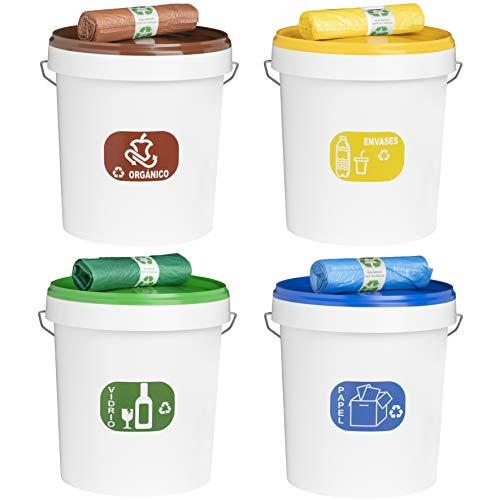 MARKESYSTEM - PACK 4 Cubos de reciclaje de colores + 4 Rollos bolsas de colores plástico reciclado 30 Litros + 4 Etiquetas distintivo reciclado para cubos - Contenedores independientes con asa