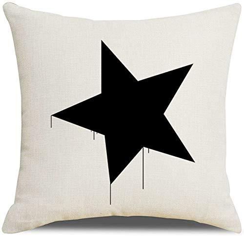 KnBoB Funda de Almohada Lino Estrella Negro Blanco 50 x 50 cm Estilo 13