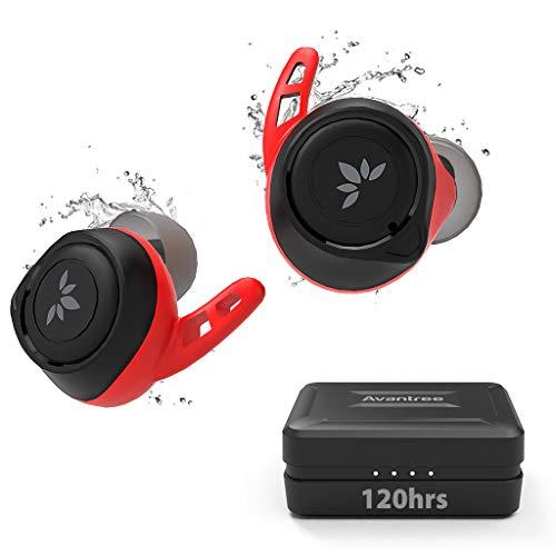 Avantree TWS106 Bluetooth 5.0 120 timmar långt batteri IPX7 svettsäkert sport äkta trådlösa öronsnäckor, aptX och AAC bra ljud för iPhone, volymkontroll, bekväm säker passform för löpning träning