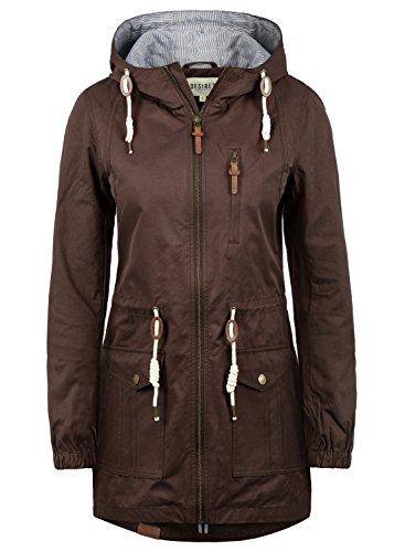 DESIRES Inata Damen Übergangsmantel Parka Lange Jacke Mit Kapuze, Größe:XL, Farbe:Coffee Bean (5973)