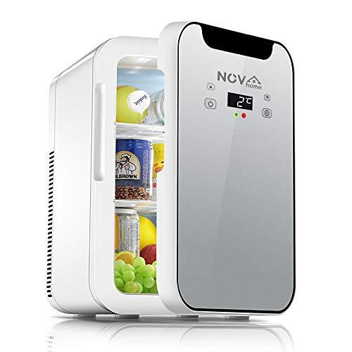Novhome Mini Kühlschrank 20L Silent Room AC/DC 12V 75W Digitalanzeige Tragbare Gefriertruhe Getränkekühlschrank für Auto Home Travel (grau, 27x35x41cm)