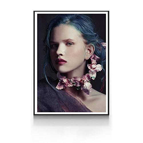 Geiqianjiumai Muursticker vrouw nordic bloem huisdecoratie olie schilderij frameloze schilderij