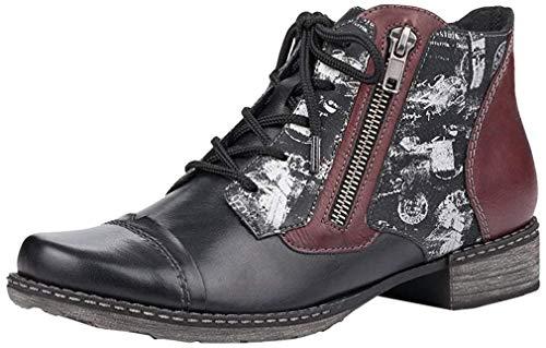 Remonte Damen Stiefeletten D4378, Frauen Schnürstiefelette, halbstiefel schnürboots Damen,schwarz/schwarz/schwarz/Silber/Burgund / 04,42 EU / 8 UK