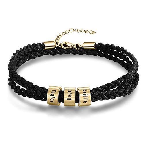Personalised Mens Bracelets Gold Name Stainless Steel Beads Charm Bracelet for Dad Engraved 3 Name ID Identity Braid Roop Bracelet Customised Father Grandad Birthday Gift