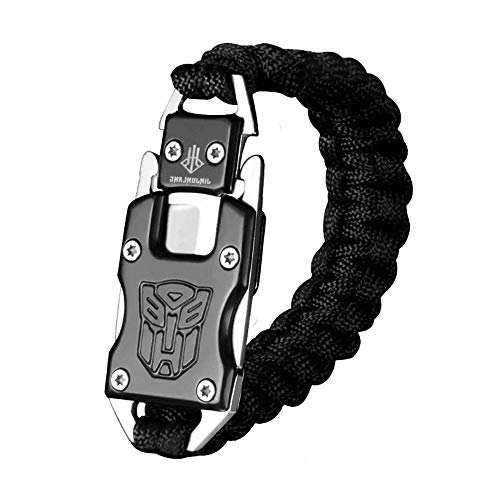 Womdee Survival Armband, EDC Survival Armband Paracord Survival Armband mit Paket Messer für Camping Survival/Wandern/Outdoor Adventure, Black