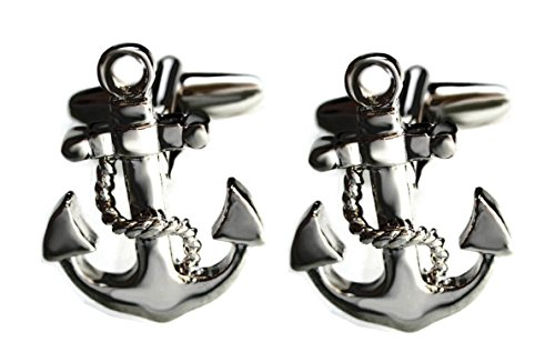 Manschettenknöpfe Anker gunmetall matt + schwarzer Exklusivbox schönes maritimes Accessoire