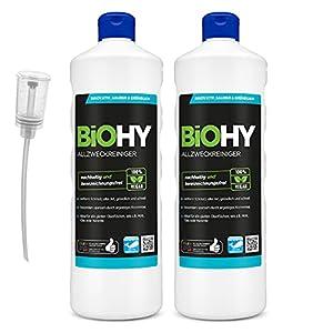 BiOHY Limpiador multiuso, Limpiador de alcohol, Limpiador universal (2 botellas de 1 litro) + Dosificador   Limpiador Profesional de Mantenimiento - Producto de Limpieza ecológico (Allzweckreiniger)