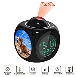 Projection Alarm Clock LCD Digital LED Display Talking with Voice Thermometer Function Desktop Pembroke Welsh Corgi Lying on The Sand Under White Cloud Blue Sky