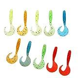 Hellery 10pcs Grubs Señuelo de Pesca de Gusano Suave Micro Jigs Cebos de Aparejos de Cabeza